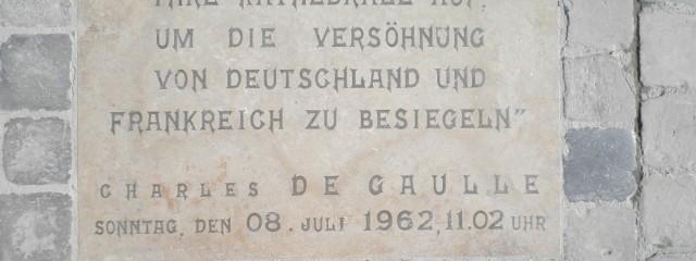Erinnerung an den Besuch Konrad Adenauers und Charle de Gaulles in Reims am 8. Juli 1962
