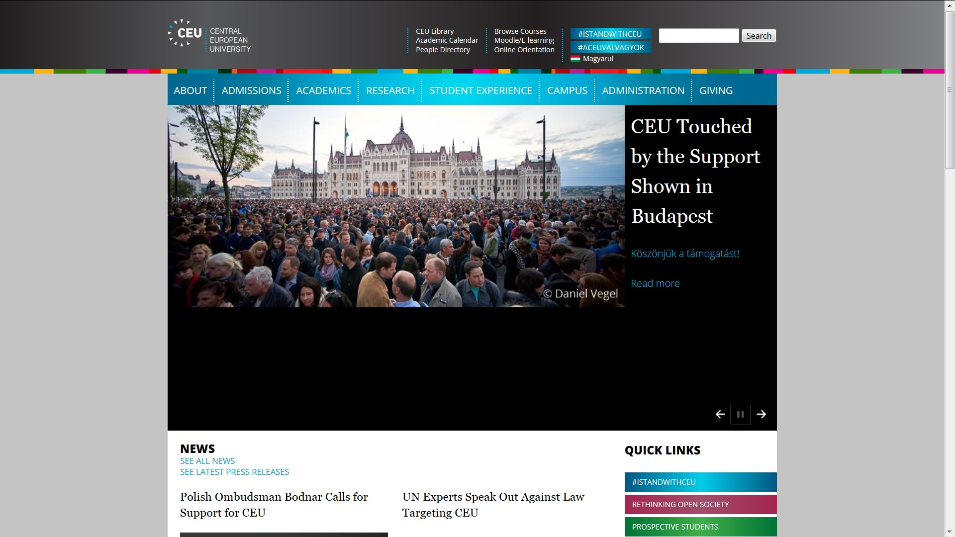 CEU Homepage; 13 April 2017