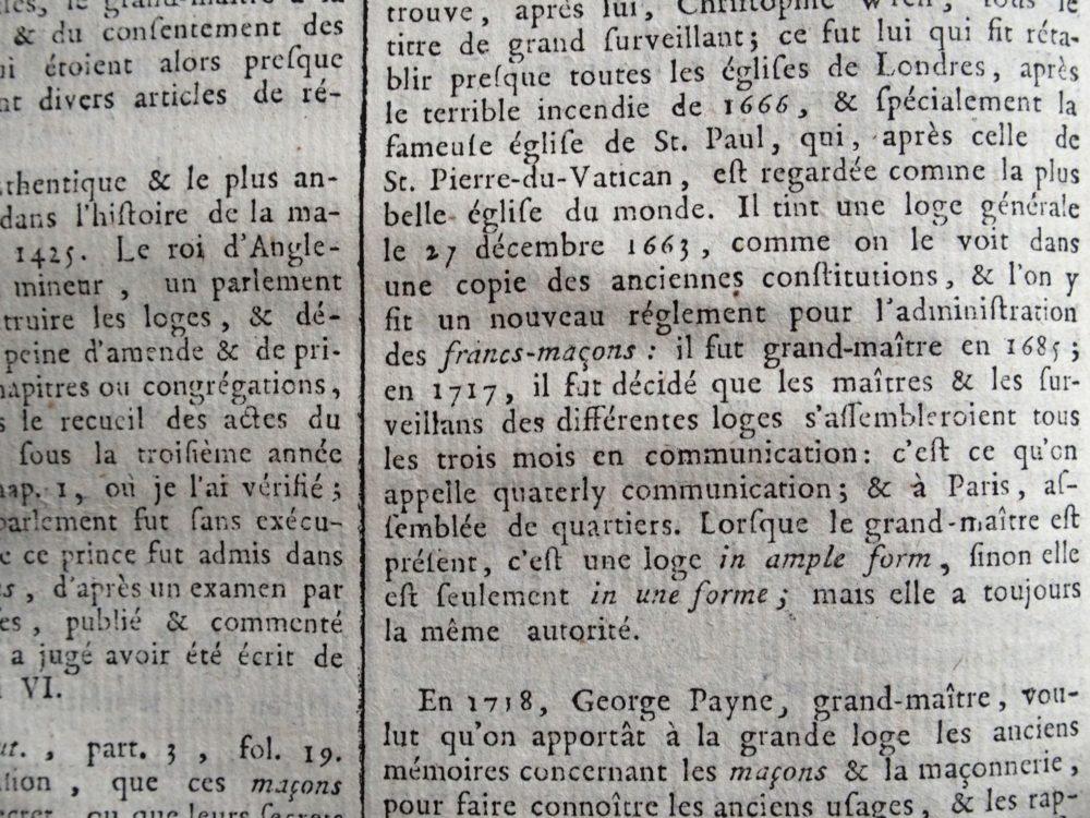 Freimaurer: Ausschnitt aus Artikel Franc-Maçon, Encyclopédie méthodique, Bd. 10 (1791)