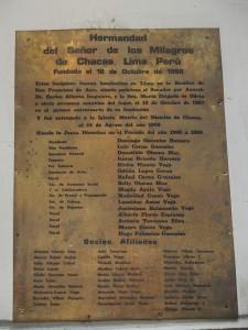 Chacas Kirche Tafel zum Gemälde mit Padre Ugo