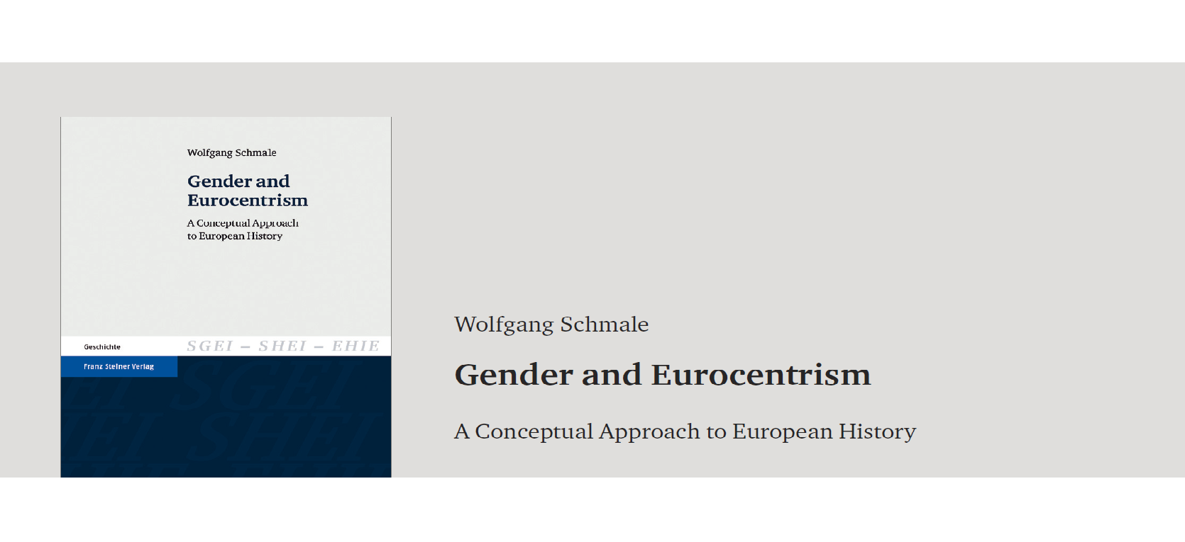 Schmale: Gender and Eurocentrism