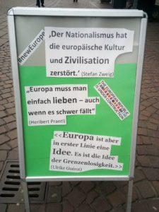 Aufsteller vor dem Informationszentrum Europe Direct Bremen, Deutschland, 9. Februar 2017. Foto: Peter Pichler