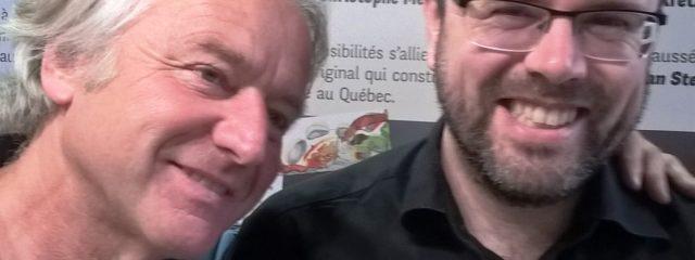 Der Verleger und Poet Albert Stickler und sein Autor Jean-Christoph Meyer (Journalist der Tageszeitung
