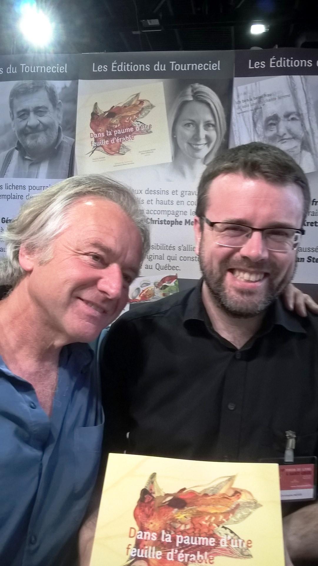 """Der Verleger und Poet Albert Stickler und sein Autor Jean-Christoph Meyer (Journalist der Tageszeitung """"L`Alsace"""")"""