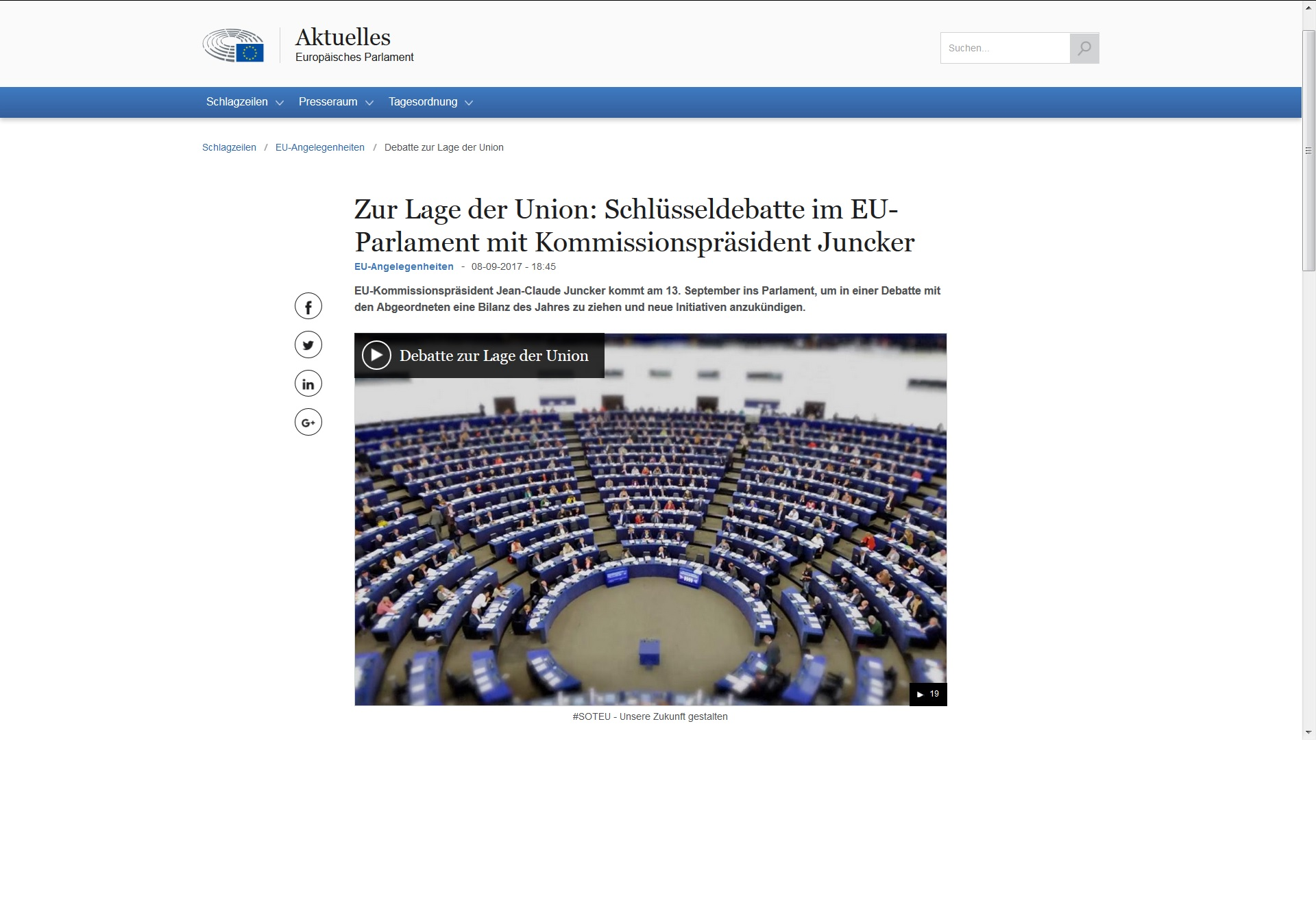 Screenshot SOTEU - Rede zur Lage der Union