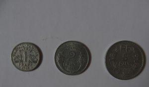 Französische Münzen 1942, 1947, 1948