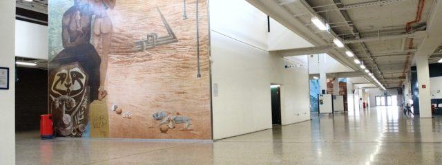 Leherb Kontinentbilder Foyer ehemalige WU Wien; Foto: Wolfgang Schmale