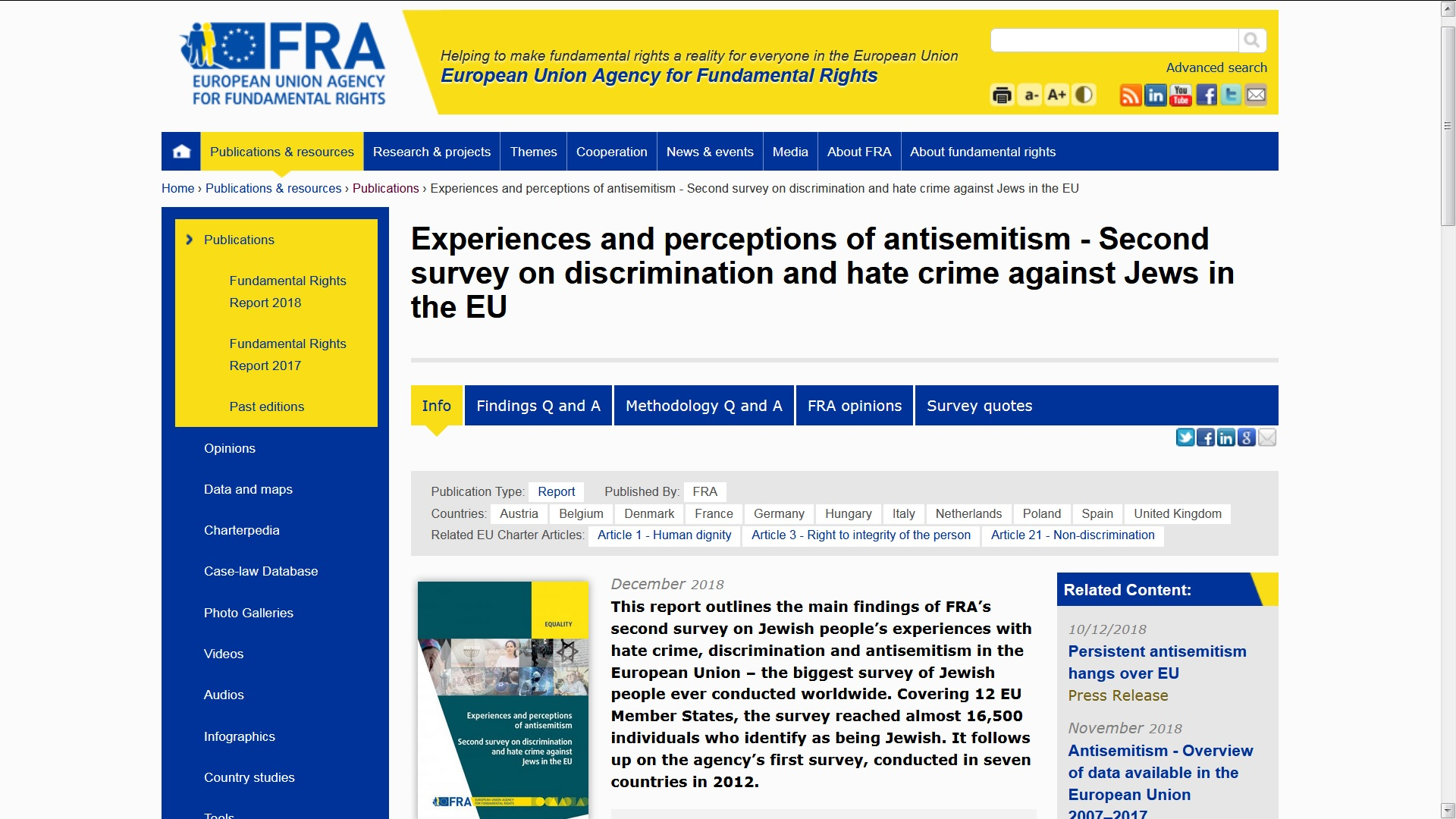 Screenshot FRA: https://fra.europa.eu/en/publication/2018/2nd-survey-discrimination-hate-crime-against-jews